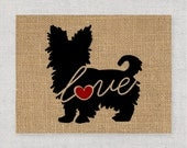 Yorkie (Yorkshire Terrier) Love (Short Haired) - Burlap or Canvas / Art for Dog Lovers: Can be Personalized (Ships Free) Script Font Option