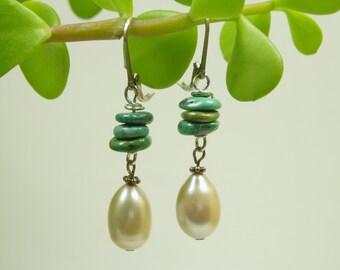 Light Gold Pearl Turquoise Earrings/ Large Freshwater Teardrop Pearl/ Genuine Turquoise/ Sterling Silver Earrings