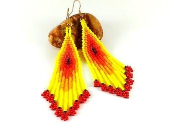 Beaded earrings yellow red Earrings seed bead Indian style beads earrings Beadwoven earrings Beaded jewelry Yellow jewelry Long earrings