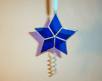 Stained Glass -Star Ornament-Christmas- Deep Blue & Silver with Beaded Spiral Accent.