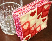 Heart Fabric Coasters.  Set of 2.  Valentine's Day Gift.  Pink/ Red Reversible Coasters.  Party Favors under 10 Dollars.  LasmasCreations.