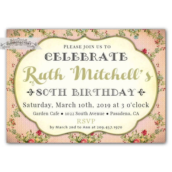 Items similar to 80th birthday party invitations for adult for Gardening 60th birthday gifts