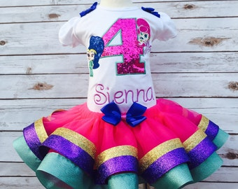 Shimmer and Shine birthday outfit shimmer and shine embroidered shirt and tutu twin genies