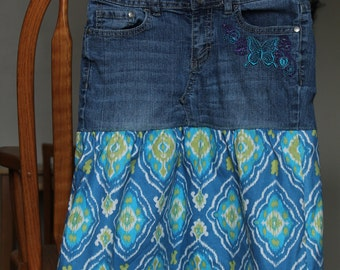 Teal and Grean Denim Skirt Girls size 12