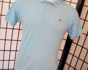 Lacoste 6 alligator light blue silver preppy adult cotton blend polo shirt