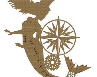 Steampunk Compass Mermaid Laser Cut Chipboard FREE SHIPPING! in US and Canada
