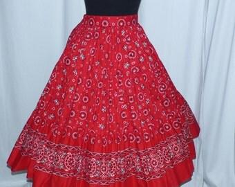 1950s Tru West Rockmount Ranch Wear Bandana Cirlce Skirt