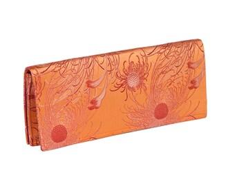 Silk Clutch - Orange Chrysanthemum