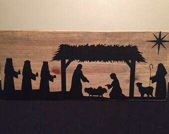 Wooden Nativity - manger scene silhouette – tabletop Christmas decoration