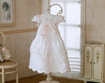 Miniature baby Christening coat-tail. Handmade, scale 1:12.
