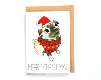 Pug Christmas Card, christmas cards, dog, greetings cards holiday happy holidays merry christmas xmas pug christmas jumper xmas cards