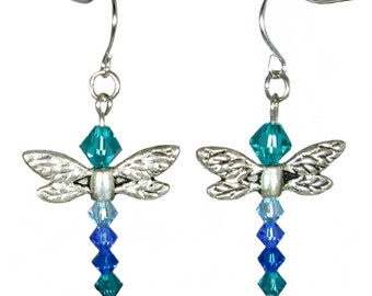 Silver Tone Dragonfly Blue Crystal Earrings