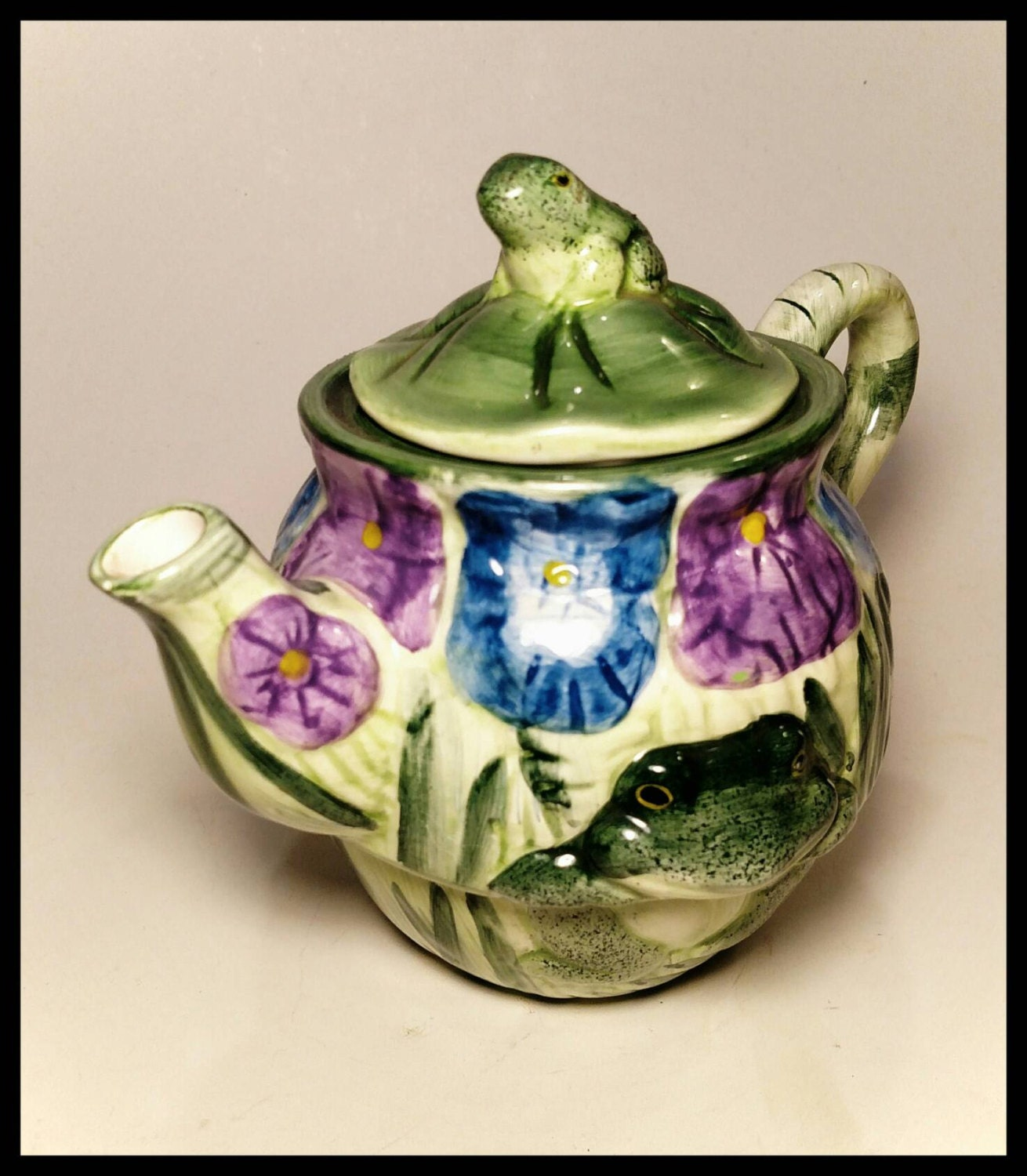 Purple And Green Kitchen Accessories: Collectible Teapot Frogs And Flowers/Ceramic Tea Pot Green