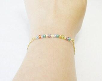 Gold Beaded Bar Bracelet, Everyday Bracelet, Gold Beaded Bracelet, Gold Minimalist Bracelet, Simple Gold Bar Bracelet, Gifts For Her