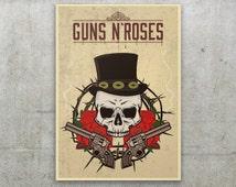 Guns n' Roses  Poster, Vintage Guns n' Roses Print design, Appetite for Destruction inspiration, Skull and Guns n' Roses Print, Slash hat