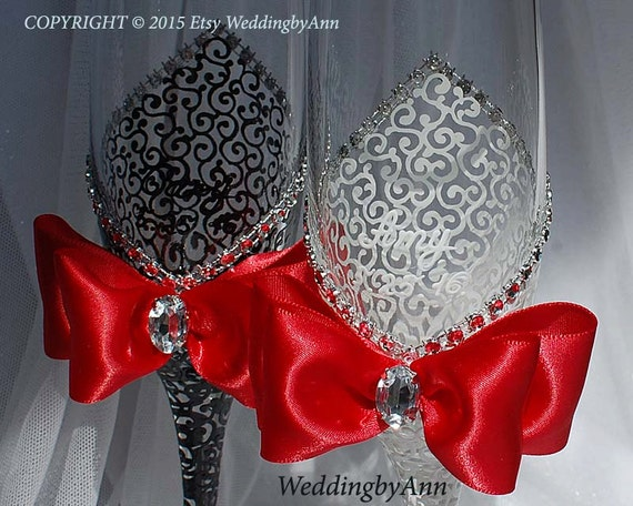 White and Red Wedding Futes Classic Wedding Glasses Wedding
