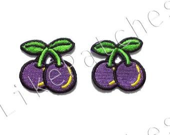 Set 2pcs. Little Couple Purple Cherry Cute Patches - Fruit New Sew / Iron On Patch Embroidered Applique Size 3.3cm.x3.2cm.