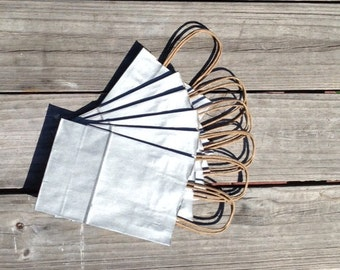 "20 Pack- Metallic Silver Kraft Shopping Bag 5.5""x3.25""x8"""