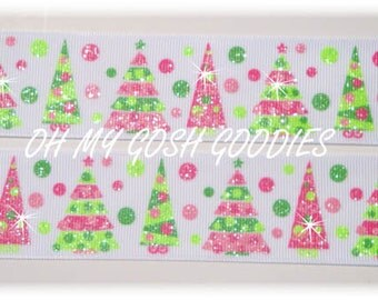 "PINK LIME GLITTER Christmas Trees Grosgrain Ribbon - 7/8"" & 1.5"" - Oh My Gosh Goodies"