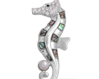 Seahorse Abalone, Austrian Crystal White Pearl Pendant in Silver-tone Without Chain