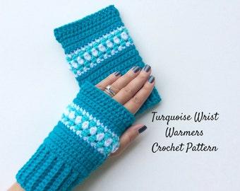 Turquoise Wrist Warmers Crochet Pattern, Intermediate Level Crochet Pattern,  Fingerless Gloves Written Crochet Pattern and Photo Tutorial