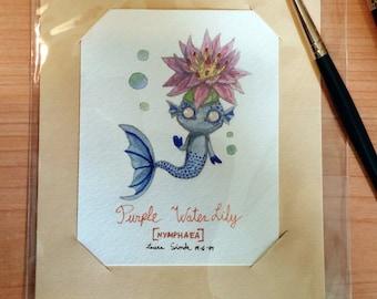 Original Watercolor / Purple Lotus