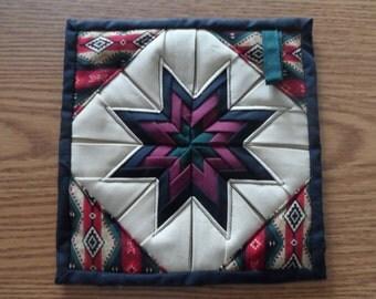 Folded Star   Pot Holder/ Hot Pad,    Southwest Print Fabric