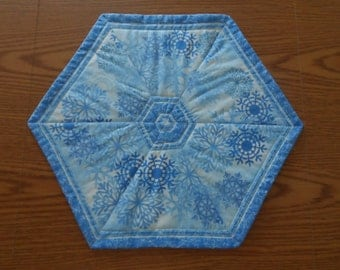Blue with Snowflakes, Hexagon Table Topper,