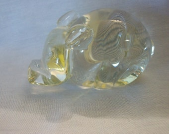 Glass Hippopotamus Paperweight