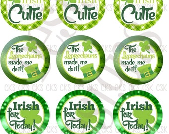 "1"" Digital Bottle Cap Sheet **INSTANT DOWNLOAD** St Patricks Day Cutie"