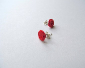 Crochet Small Stud Earrings - Scarlet Red