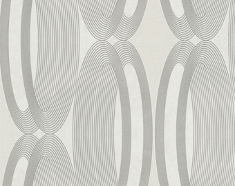 Contemporary Metallic & White Wheeled Wallpaper R3964