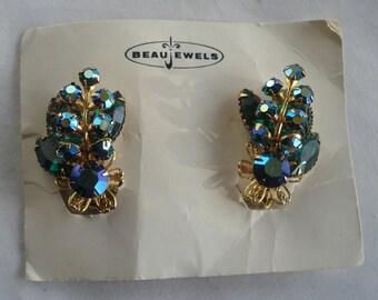 Beau Jewelry Earrings Blue Aurora Borielis Glass Gold Tone Signed 02910