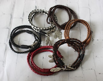 Feather Wrapped Around Bracelets, Wrapped Bracelets, Feather Charms, Feather Bracelets, Leather Bracelet, Gift Bracelets