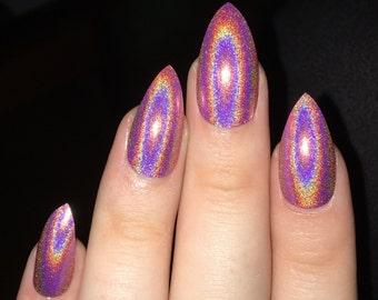 fake nails, press on nails, holographic nails, stiletto nails, holographic, pink nails