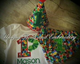Catapiller 5 piece birthday set ~ birthday smash cake outfit Onsie, diaper cover, matching tie , bib and hat