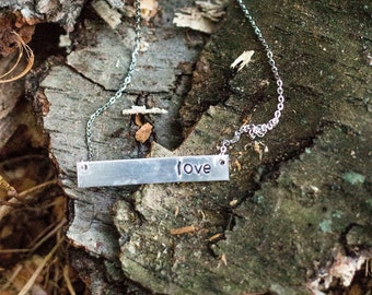 Custom hand stamped bar necklace - single word - choose your word - made to order - aluminum hand stamped bar -  durable non-tarnish chain