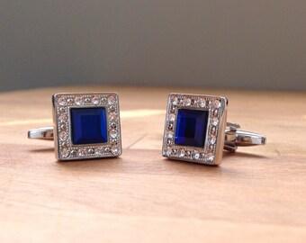 High quality silver and blue crystal cufflinks