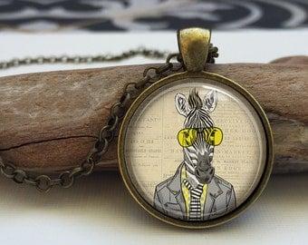Hipster Zebra art pendant . Hipster animals necklace . Funny Zebra necklace