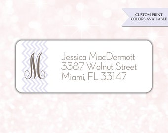 Return address labels (30) - Return address sticker - Adress labels - Address stickers - Monogram return address labels (AW004)