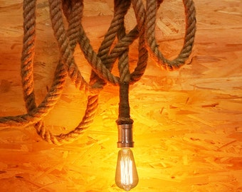 Thick Rope Edison lamp - E27 - edison bulb hanging Light - ceiling lamp - edison bulb - industrial lighting - rustic rope