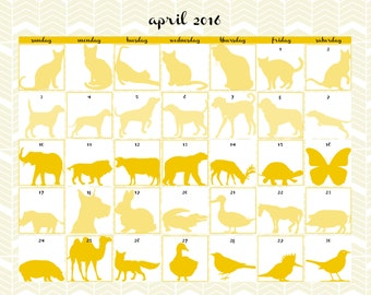 Printable Fun Calendar 2016 for Animal Lovers | April