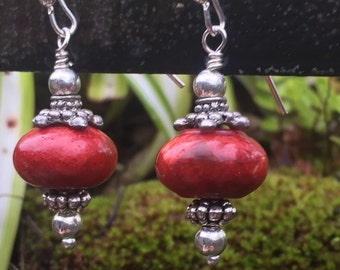 Red stone and silver lampwork earrings