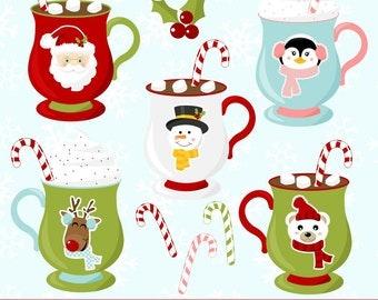 Christmas Clipart, Christmas Clip Art, Christmas Mugs, Mug Clipart, Digital Christmas Clipart