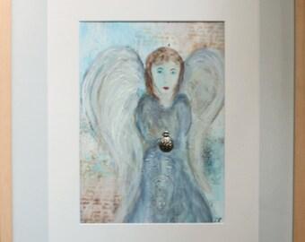 Mixed media - original art, Encaustic Angel