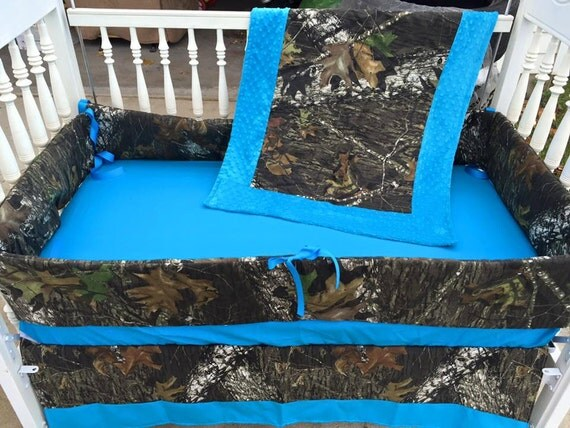 Mossy oak camo and blue crib set camo baby by sewsweetbabydesigns