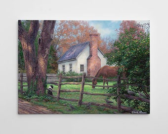 """Countryside Home Painting, Farm Canvas Art, Cottage Large Painting, Horse Canvas Wall Art, """"Where Time Moves Slower"""" by Chuck Pinson-3727-GW"""