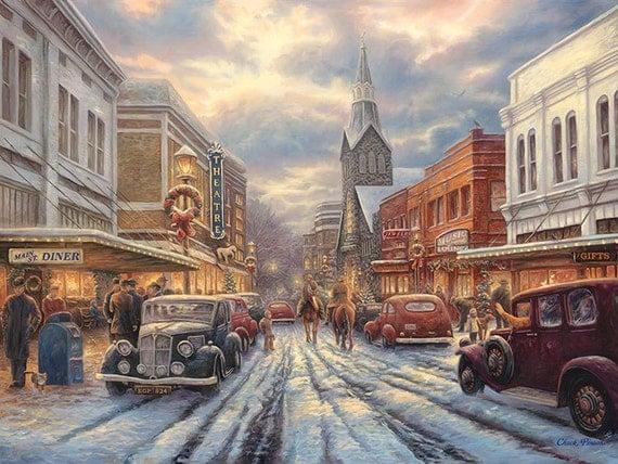 Americana Painting Nostalgic Street Art Classic Cars