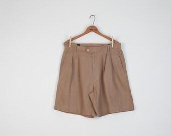 Vintage Mens Linen Shorts in Tan