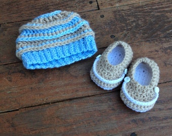 Newborn Hat and Booties Set- Ready to Ship!!